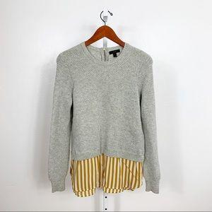 JCrew  Lambswool Mustard Stripe Shirttail Sweater